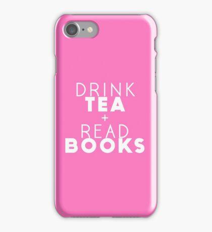 Drink Tea + Read Books (Pink) iPhone Case/Skin