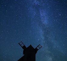 Windmill and Milky Way  by Remo Savisaar