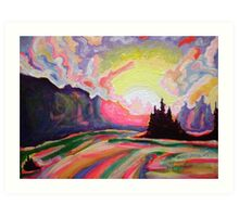 The Sun is Setting at the Lake Art Print