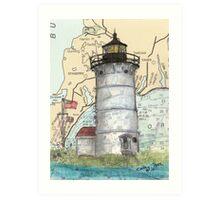 Nobska Pt Lighthouse MA Nautical Chart Cathy Peek Art Print