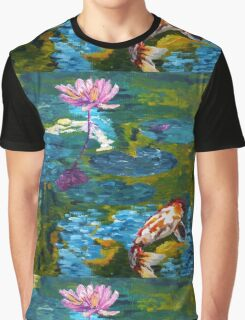 Tranquil Koi Lily Pond Graphic T-Shirt