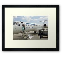 It's Bob's first day as an airplane deicer; he should have taken that on-the-job training course. Framed Print