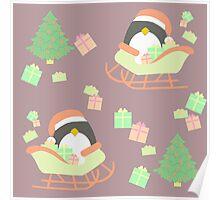 Penguin in Sleigh #3 Poster
