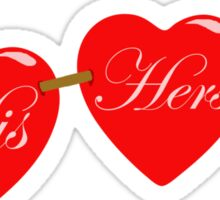 his and her hearts Sticker