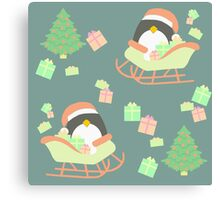 Penguin in Sleigh #4 Canvas Print