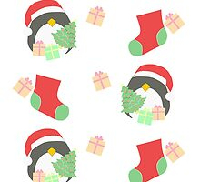 Penguin and Christmas Stockings #1 by simplepaperplan