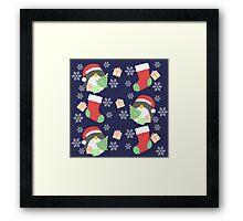 Penguin and Christmas Stockings #2 Framed Print