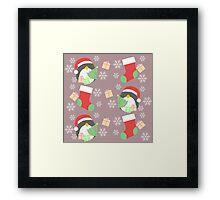 Penguin and Christmas Stockings #3 Framed Print