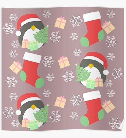 Penguin and Christmas Stockings #3 Poster