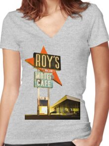 Roy's Motel Women's Fitted V-Neck T-Shirt