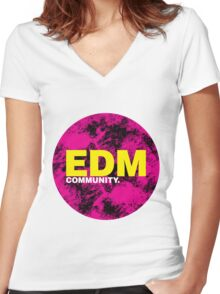 EDM (Electronic Dance Music) Community Women's Fitted V-Neck T-Shirt