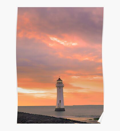 Red Sky at Perch Rock Poster