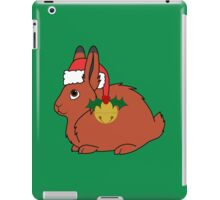 Red Arctic Hare with Santa Hat, Holly & Gold Bell iPad Case/Skin