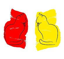 Yellow Cat/Red Cat by rolypolynicoley
