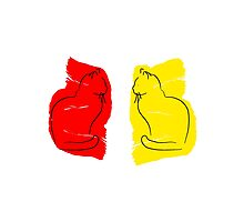 Yellow Cat/Red Cat Photographic Print
