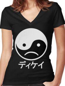 Yin Yang Face II Women's Fitted V-Neck T-Shirt