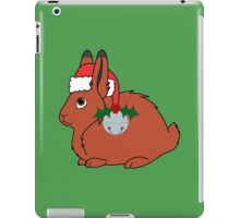Red Arctic Hare with Santa Hat, Holly & Silver Bell iPad Case/Skin