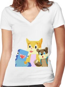 Minecraft Youtuber Stampy Cat, iBallisticsquid, L for Lee x Women's Fitted V-Neck T-Shirt