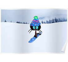 Snowboarding Cat Poster