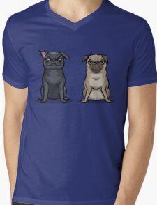 MEAN MUG PUGS - Ozzy & Kubrick Mens V-Neck T-Shirt