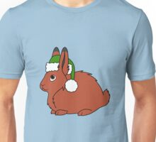 Red Arctic Hare with Christmas Green Santa Hat Unisex T-Shirt