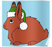 Red Arctic Hare with Christmas Green Santa Hat Poster