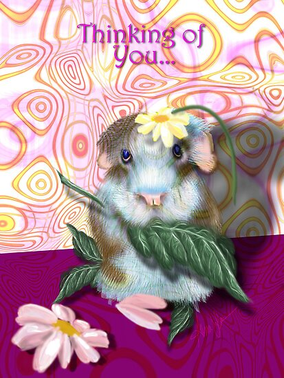 Herbie Hamster, Thinking of you Greeting Card by Alma Lee