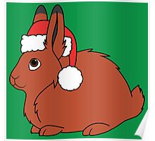 Red Arctic Hare with Christmas Red Santa Hat Poster