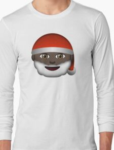Emoji Santa Black Long Sleeve T-Shirt
