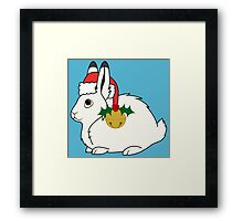White Arctic Hare with Santa Hat, Holly & Gold Bell Framed Print