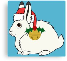 White Arctic Hare with Santa Hat, Holly & Gold Bell Canvas Print