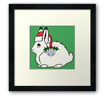 White Arctic Hare with Santa Hat, Holly & Silver Bell Framed Print
