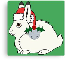 White Arctic Hare with Santa Hat, Holly & Silver Bell Canvas Print