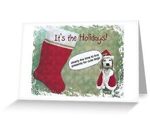 The Christmas Dog  - Holiday Card  - Presents  Greeting Card