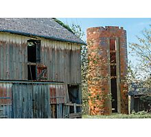Old Wooden Barn and Brick Silo Photographic Print