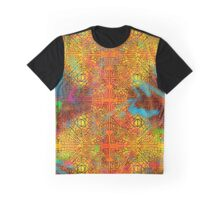 TRIBAL GEOMETRIC SHAPES TRIP ORANGE YELLOW PINK BLUE GREEN NEON Graphic T-Shirt