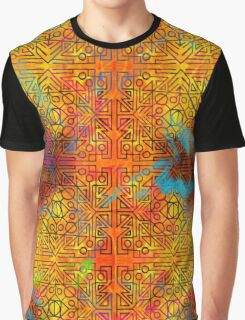 TRIBAL GEOMETRIC SHAPES TRIP ORANGE YELLOW PINK BLUE GREEN NEON Graphic T-Shirt