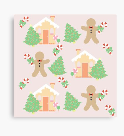 Gingerbread man & gingerbread house #1 Canvas Print