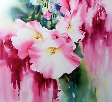 Hollyhock-2 by Bev  Wells