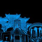 Liverpool Landmarks Montage Blue and Black by Paul Madden