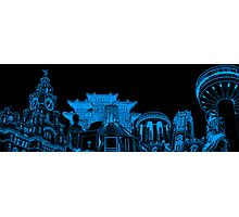 Liverpool Landmarks Montage Blue and Black Photographic Print