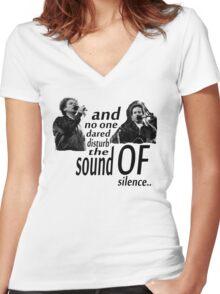 Simon & Garfunkel-The Sound Of Silence Women's Fitted V-Neck T-Shirt