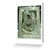 MATER MISERICORDIAE, SUB TUUM PRAESIDIUM CONFUGIMUS.  Blessed Virgin Mary venerated by the faithful in the Chapel of the Gate of Dawn in Vilnius, Lithuania. Greeting Card