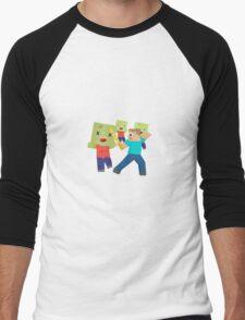 Minecraft Zombie and Steve / Blockhead Men's Baseball ¾ T-Shirt