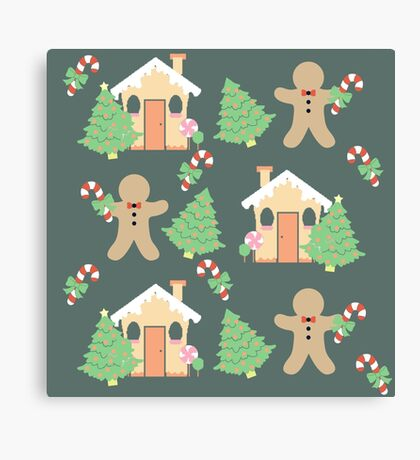 Gingerbread man & gingerbread house #4 Canvas Print