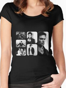 Ian Somerhalder in Black and White Women's Fitted Scoop T-Shirt