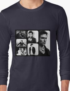 Ian Somerhalder in Black and White Long Sleeve T-Shirt