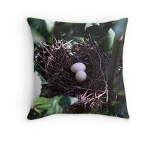 Collared Dove Nest Throw Pillow
