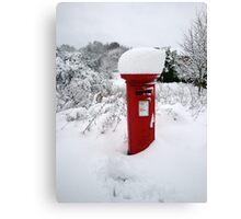 Snowy Postbox Canvas Print