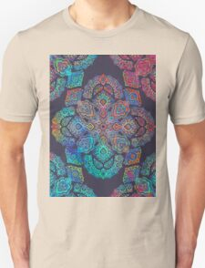 rainbow blacklight neon fractal floral pattern trip T-Shirt